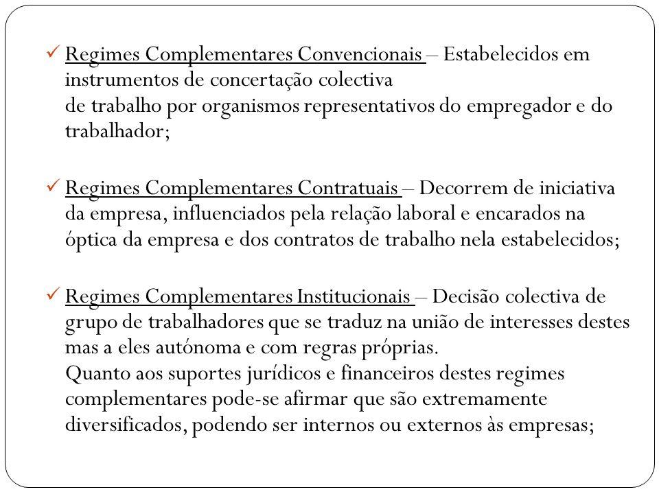 Regimes Complementares Convencionais – Estabelecidos em instrumentos de concertação colectiva de trabalho por organismos representativos do empregador