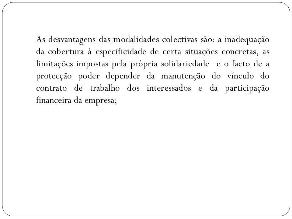 As desvantagens das modalidades colectivas são: a inadequação da cobertura à especificidade de certa situações concretas, as limitações impostas pela