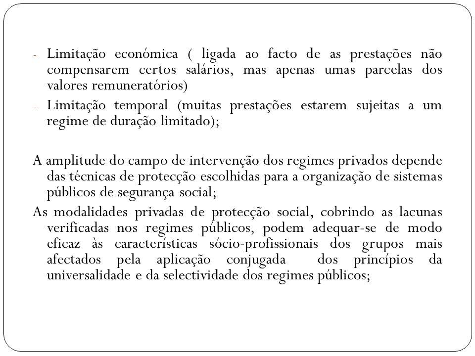 - Limitação económica ( ligada ao facto de as prestações não compensarem certos salários, mas apenas umas parcelas dos valores remuneratórios) - Limit