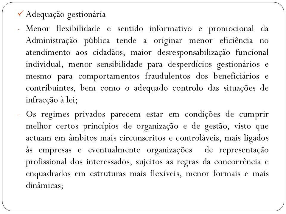 Adequação gestionária - Menor flexibilidade e sentido informativo e promocional da Administração pública tende a originar menor eficiência no atendime