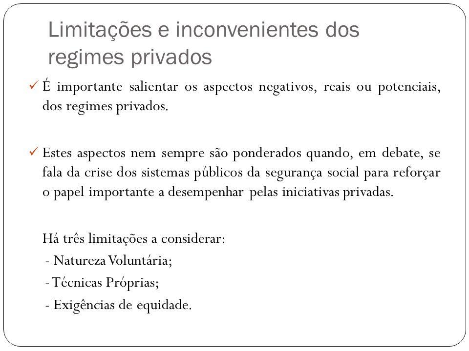 Limitações e inconvenientes dos regimes privados É importante salientar os aspectos negativos, reais ou potenciais, dos regimes privados. Estes aspect