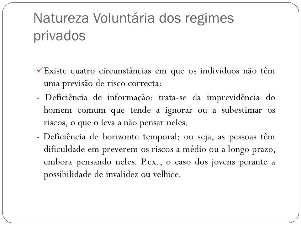 Natureza Voluntária dos regimes privados Existe quatro circunstâncias em que os indivíduos não têm uma previsão de risco correcta: - Deficiência de in