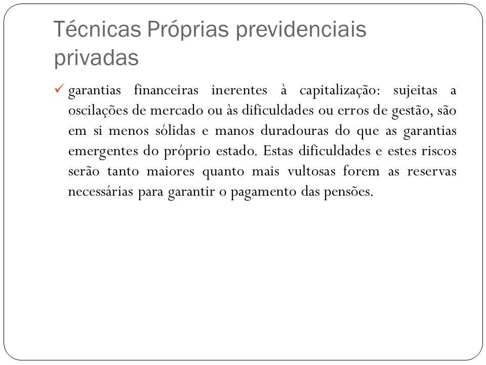 Técnicas Próprias previdenciais privadas garantias financeiras inerentes à capitalização: sujeitas a oscilações de mercado ou às dificuldades ou erros
