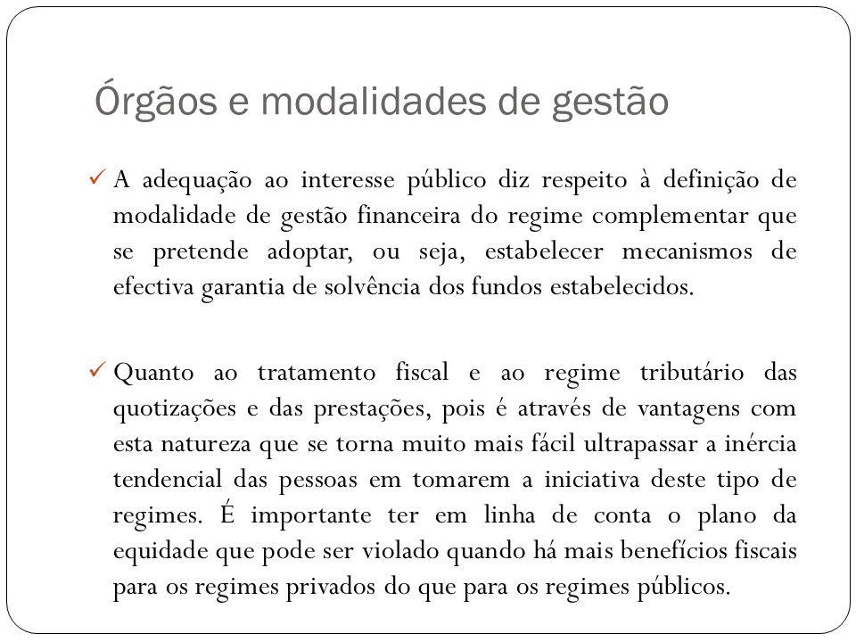 Órgãos e modalidades de gestão A adequação ao interesse público diz respeito à definição de modalidade de gestão financeira do regime complementar que