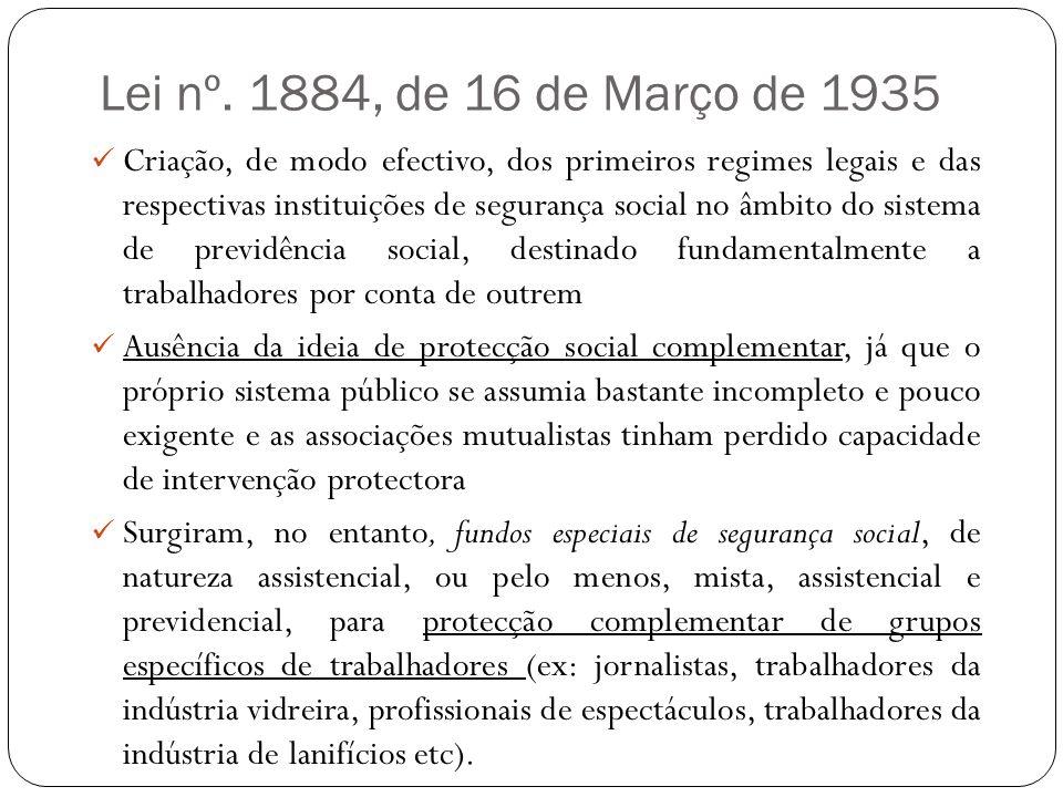 Lei nº. 1884, de 16 de Março de 1935 Criação, de modo efectivo, dos primeiros regimes legais e das respectivas instituições de segurança social no âmb