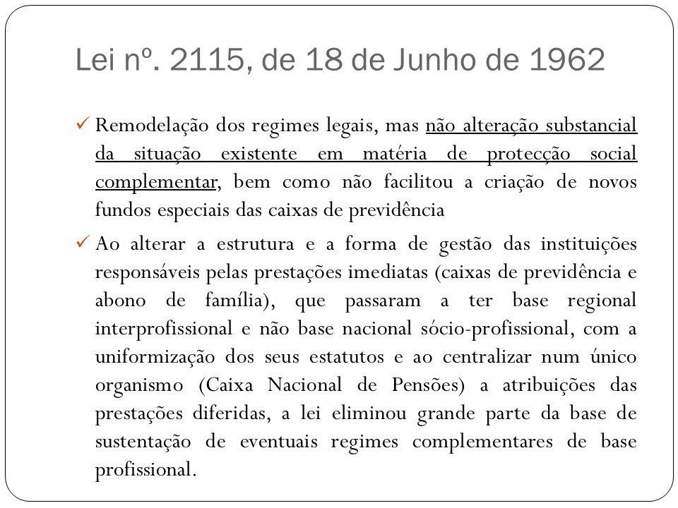 Lei nº. 2115, de 18 de Junho de 1962 Remodelação dos regimes legais, mas não alteração substancial da situação existente em matéria de protecção socia