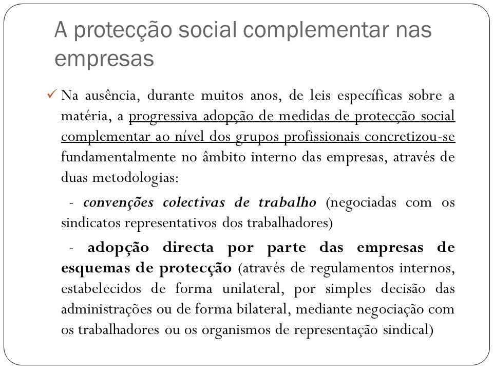 A protecção social complementar nas empresas Na ausência, durante muitos anos, de leis específicas sobre a matéria, a progressiva adopção de medidas d