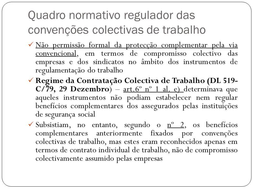 Quadro normativo regulador das convenções colectivas de trabalho Não permissão formal da protecção complementar pela via convencional, em termos de co