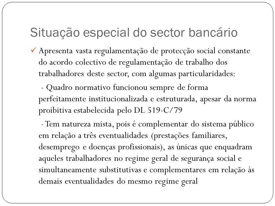 Situação especial do sector bancário Apresenta vasta regulamentação de protecção social constante do acordo colectivo de regulamentação de trabalho do