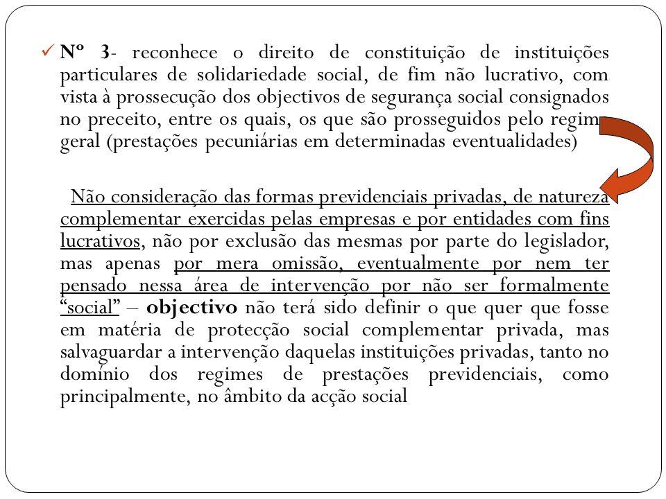 Nº 3- reconhece o direito de constituição de instituições particulares de solidariedade social, de fim não lucrativo, com vista à prossecução dos obje