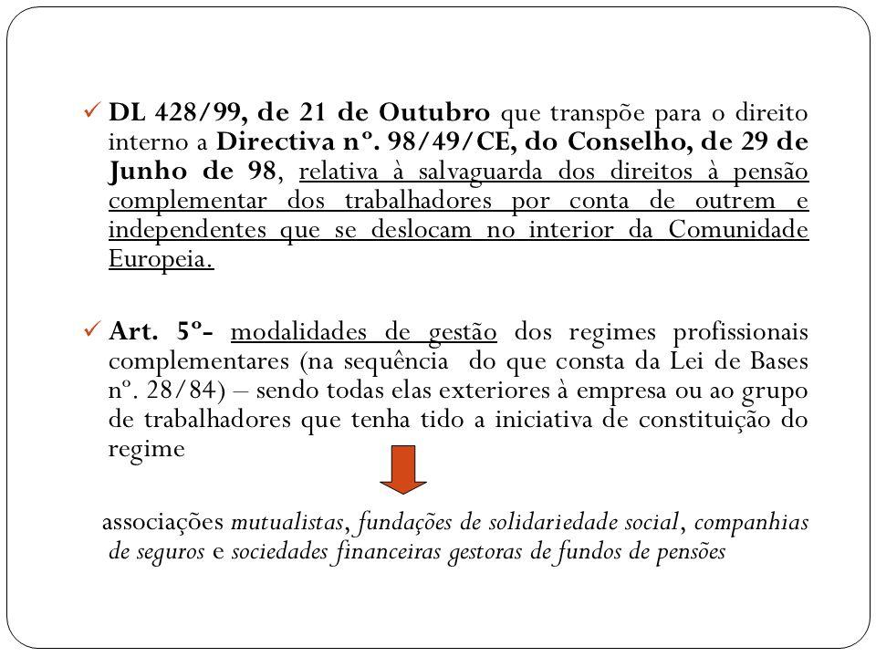 DL 428/99, de 21 de Outubro que transpõe para o direito interno a Directiva nº. 98/49/CE, do Conselho, de 29 de Junho de 98, relativa à salvaguarda do
