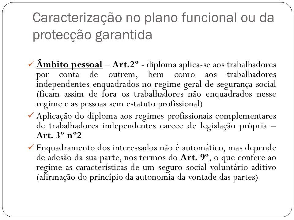 Caracterização no plano funcional ou da protecção garantida Âmbito pessoal – Art.2º - diploma aplica-se aos trabalhadores por conta de outrem, bem com