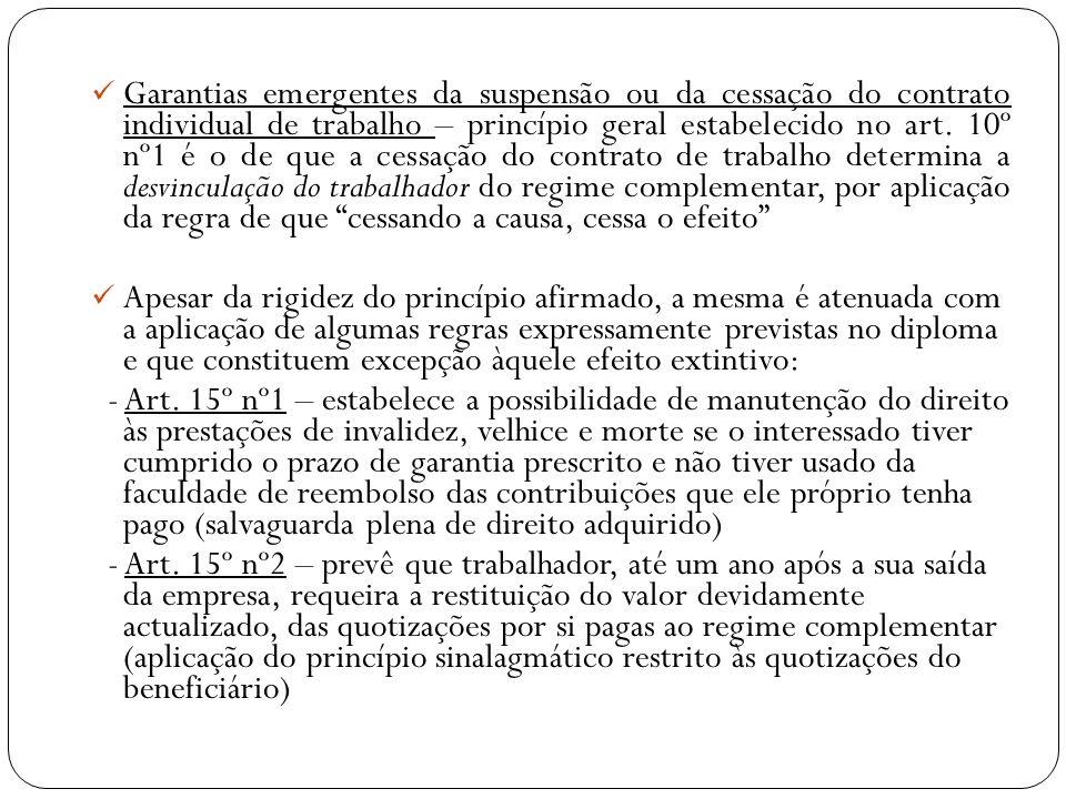 Garantias emergentes da suspensão ou da cessação do contrato individual de trabalho – princípio geral estabelecido no art. 10º nº1 é o de que a cessaç