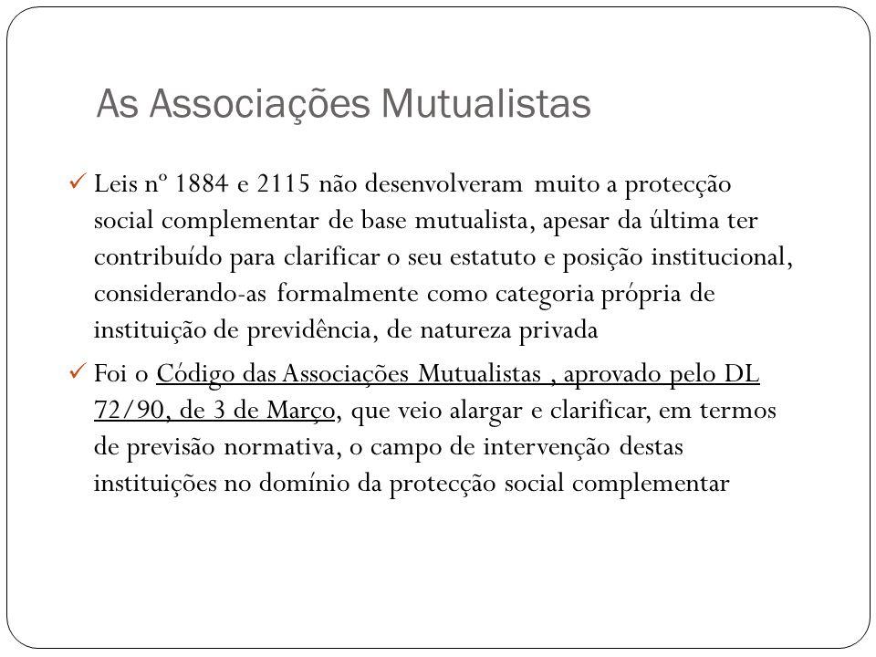 As Associações Mutualistas Leis nº 1884 e 2115 não desenvolveram muito a protecção social complementar de base mutualista, apesar da última ter contri