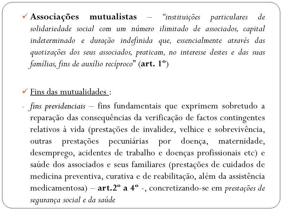 Associações mutualistas – instituições particulares de solidariedade social com um número ilimitado de associados, capital indeterminado e duração ind