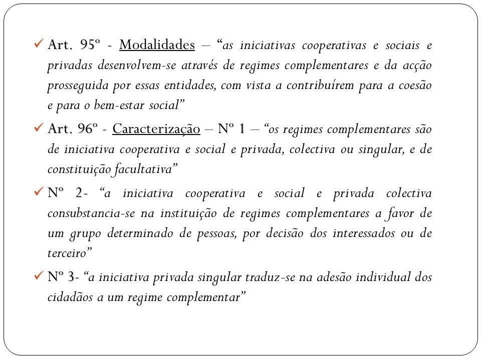 Art. 95º - Art. 95º - Modalidades – as iniciativas cooperativas e sociais e privadas desenvolvem-se através de regimes complementares e da acção pross