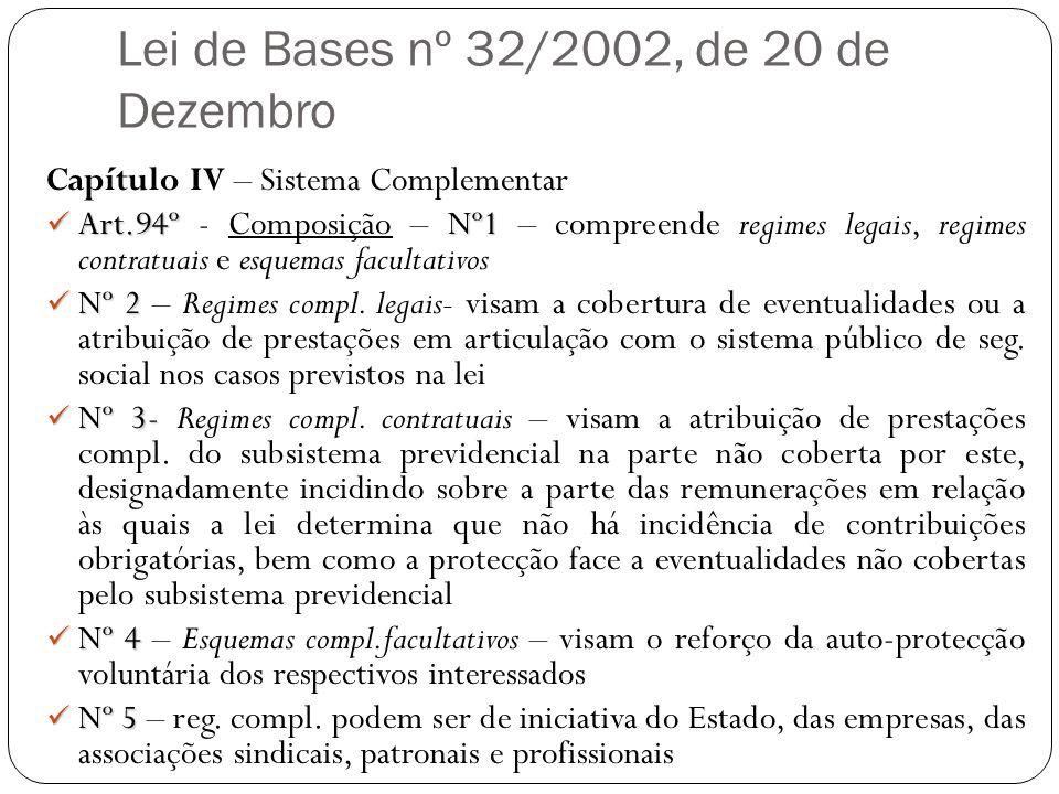 Lei de Bases nº 32/2002, de 20 de Dezembro Capítulo IV – Sistema Complementar Art.94º Nº1 Art.94º - Composição – Nº1 – compreende regimes legais, regi