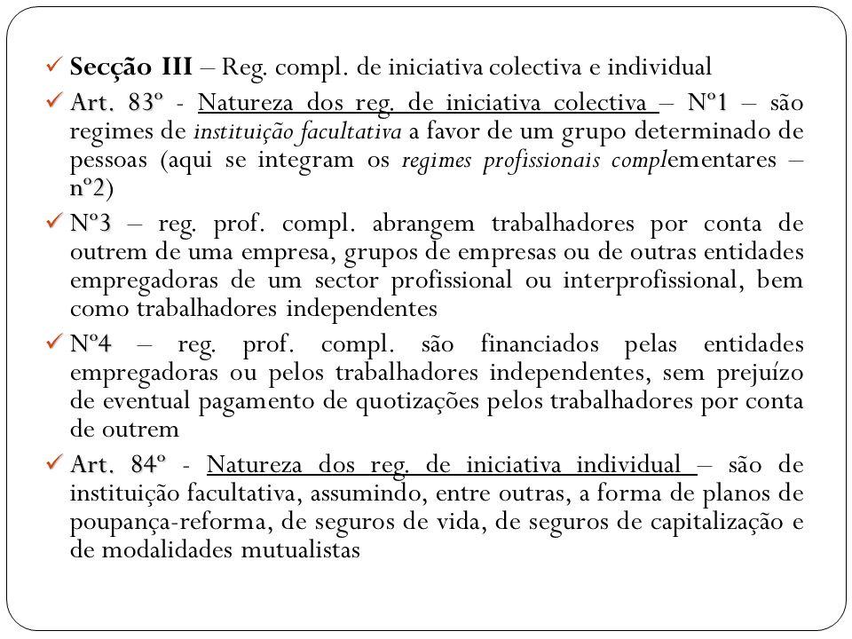 Secção III – Reg. compl. de iniciativa colectiva e individual Art. 83º Nº1 nº2 Art. 83º - Natureza dos reg. de iniciativa colectiva – Nº1 – são regime