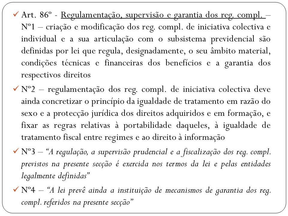 Art. 86º Nº1 Art. 86º - Regulamentação, supervisão e garantia dos reg. compl. – Nº1 – criação e modificação dos reg. compl. de iniciativa colectiva e