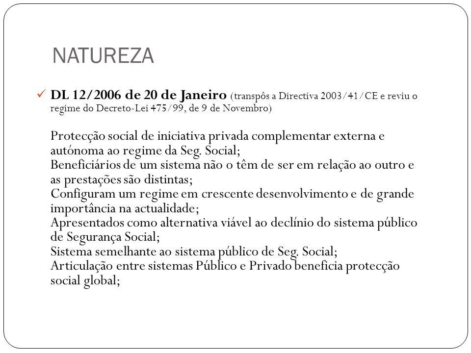 NATUREZA DL 12/2006 de 20 de Janeiro (transpôs a Directiva 2003/41/CE e reviu o regime do Decreto-Lei 475/99, de 9 de Novembro) Protecção social de in