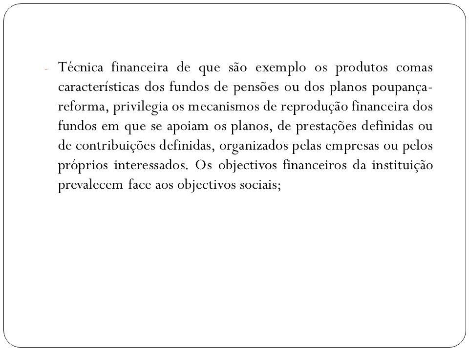 - Técnica financeira de que são exemplo os produtos comas características dos fundos de pensões ou dos planos poupança- reforma, privilegia os mecanis