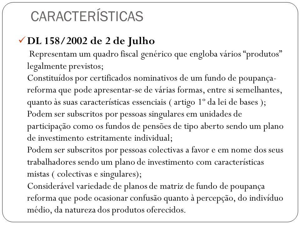 CARACTERÍSTICAS DL 158/2002 de 2 de Julho Representam um quadro fiscal genérico que engloba vários produtos legalmente previstos; Constituídos por cer