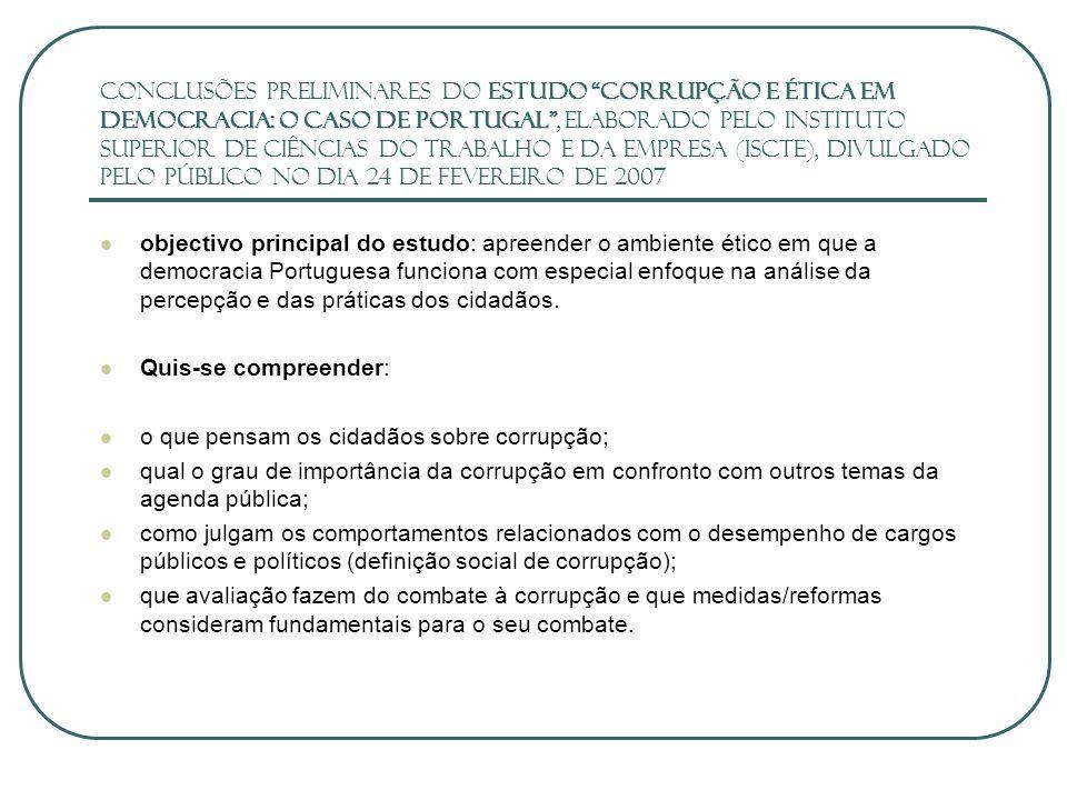Avaliação da Corrupção e das Capacidades Institucionais contra a Corrupção avaliação prévia da natureza e extensão da corrupção: inquéritos, entrevistas, case studies, etc.
