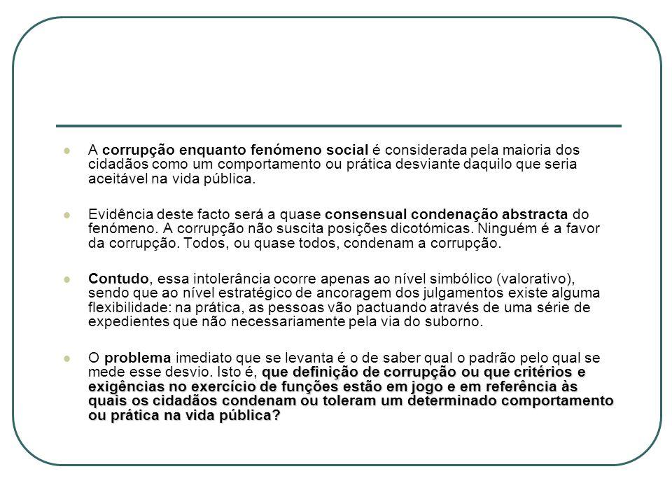 As maiores fontes de corrupção na democracia portuguesa actual As maiores fontes de corrupção na democracia portuguesa actual (Maria José Morgado e José Vegar, O Inimigo sem Rosto: fraude e corrupção em Portugal) - não funcionamento das instâncias de controlo e fiscalização efectivos ao nível dos vários serviços - não funcionamento das instâncias de controlo e fiscalização efectivos ao nível dos vários serviços, porque demasiado formalistas, gera, por si, um clima de impunidade extremamente aliciante para o candidato à corrupção, porque permite que os fenómenos de tráfico de influências e de corrupção adquiram uma tal exuberância e solidez de cumplicidades, que torna praticamente impossível combatê-los por via criminal.