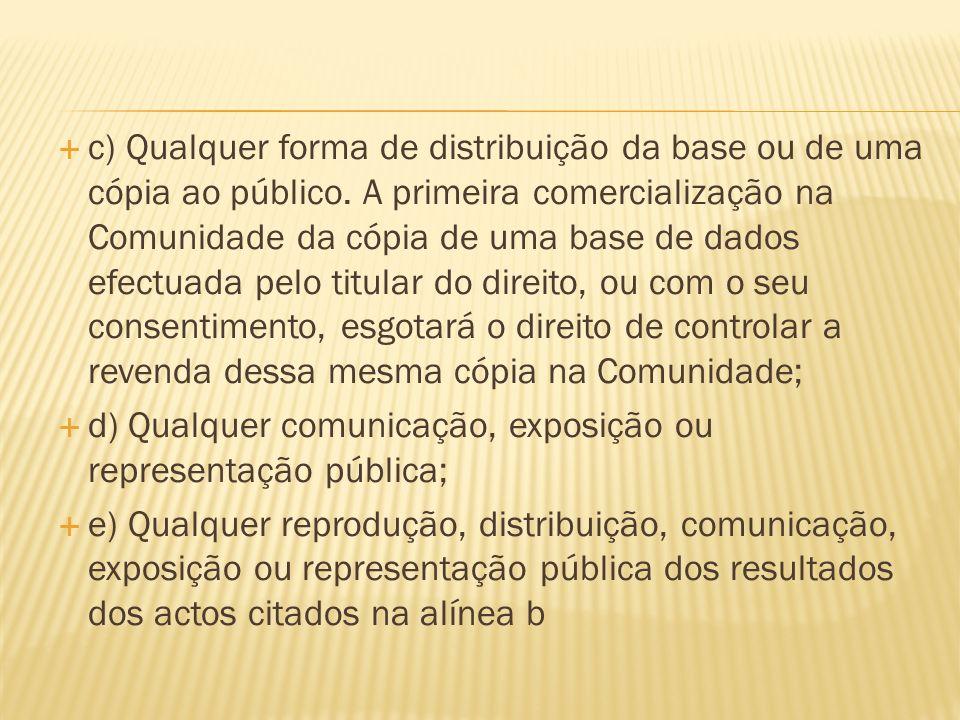 c) Qualquer forma de distribuição da base ou de uma cópia ao público.