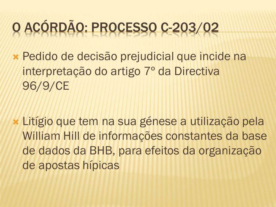 Pedido de decisão prejudicial que incide na interpretação do artigo 7º da Directiva 96/9/CE Litígio que tem na sua génese a utilização pela William Hill de informações constantes da base de dados da BHB, para efeitos da organização de apostas hípicas