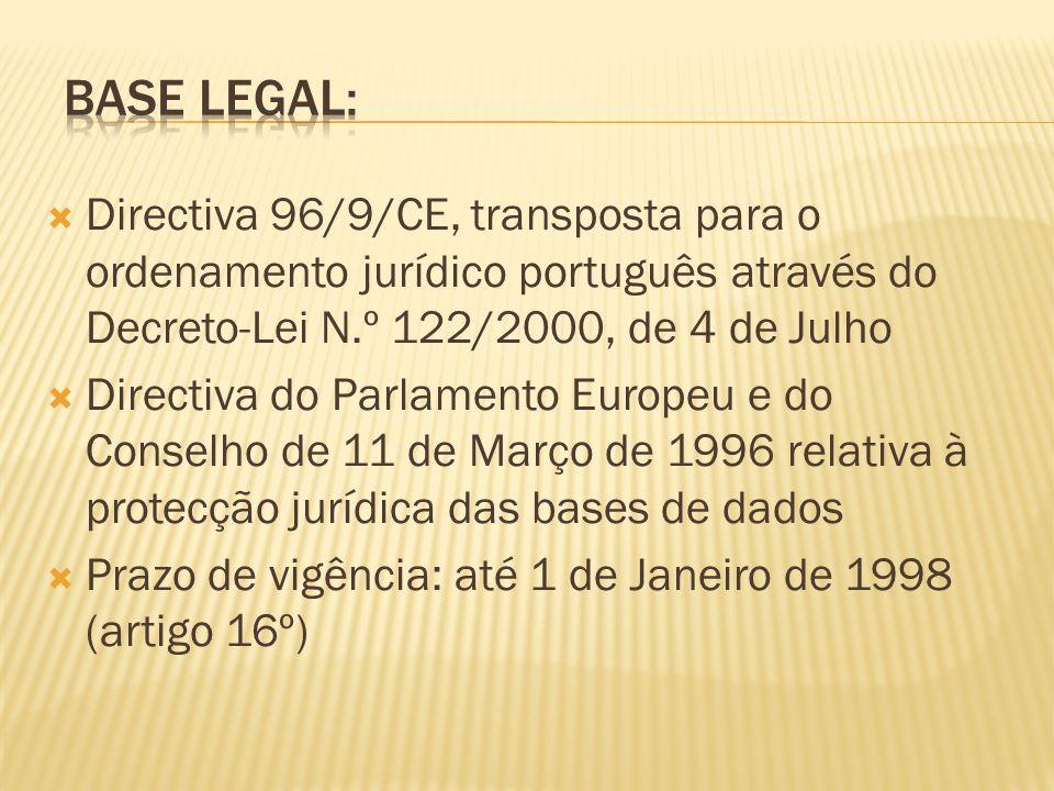 Directiva 96/9/CE, transposta para o ordenamento jurídico português através do Decreto-Lei N.º 122/2000, de 4 de Julho Directiva do Parlamento Europeu e do Conselho de 11 de Março de 1996 relativa à protecção jurídica das bases de dados Prazo de vigência: até 1 de Janeiro de 1998 (artigo 16º)