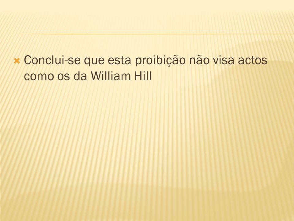 Conclui-se que esta proibição não visa actos como os da William Hill