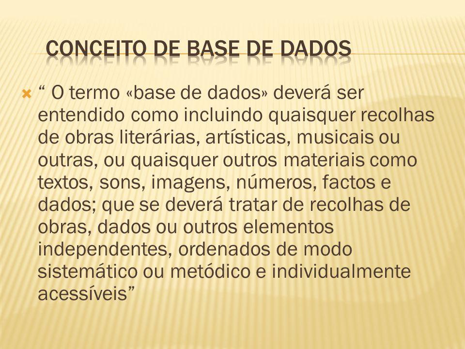 O conceito de parte substancial (em termos quantitativos) do conteúdo de uma base de dados tem que ver com o volume de dados extraído e/ou reutilizado da base Deve ser apreciado em relação ao volume do conteúdo total da base