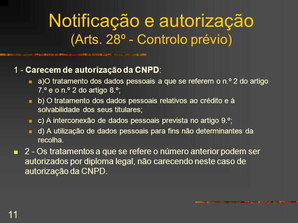 11 Notificação e autorização (Arts. 28º - Controlo prévio) 1 - Carecem de autorização da CNPD: a)O tratamento dos dados pessoais a que se referem o n.