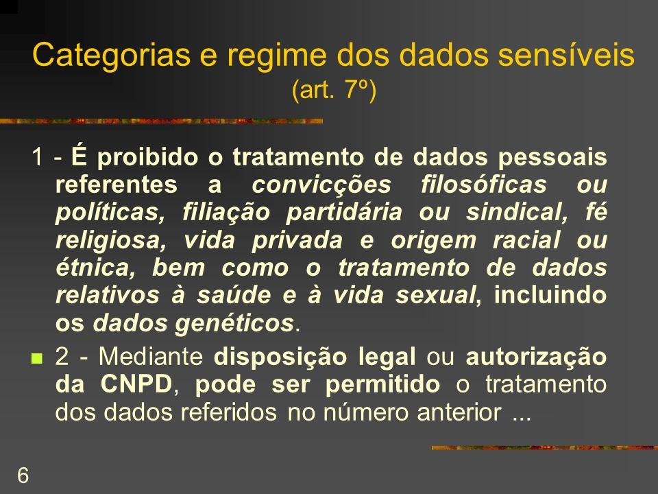 6 Categorias e regime dos dados sensíveis (art. 7º) 1 - É proibido o tratamento de dados pessoais referentes a convicções filosóficas ou políticas, fi