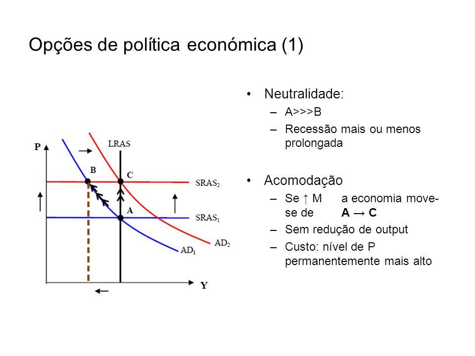 Opções de política económica (1) Neutralidade: –A>>>B –Recessão mais ou menos prolongada Acomodação –Se Ma economia move- se deA C –Sem redução de out
