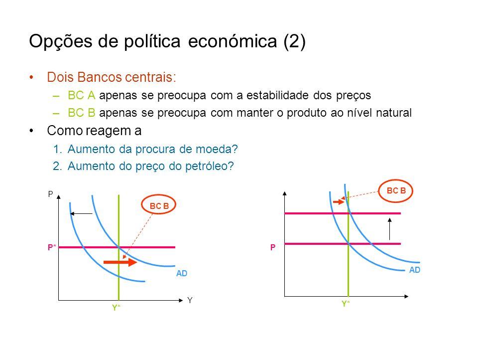 Opções de política económica (2) Dois Bancos centrais: –BC A apenas se preocupa com a estabilidade dos preços –BC B apenas se preocupa com manter o pr