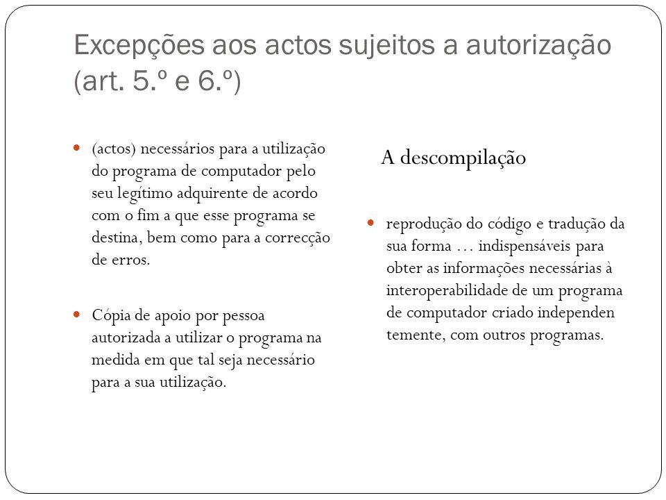 Excepções aos actos sujeitos a autorização (art.