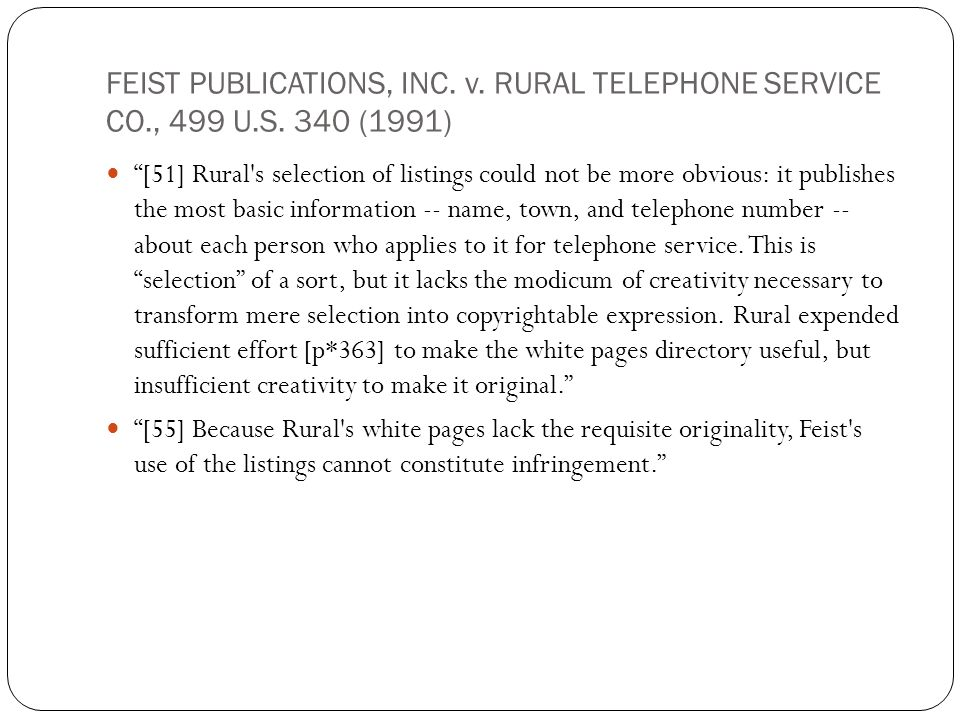 FEIST PUBLICATIONS, INC. v. RURAL TELEPHONE SERVICE CO., 499 U.S.