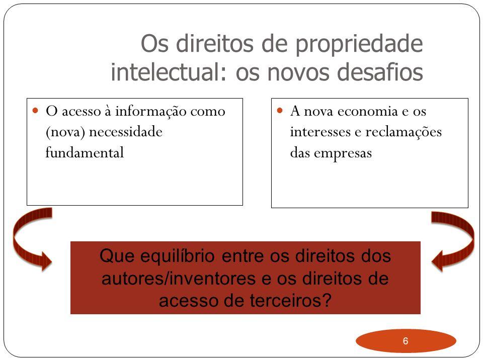 6 Os direitos de propriedade intelectual: os novos desafios O acesso à informação como (nova) necessidade fundamental A nova economia e os interesses e reclamações das empresas Que equilíbrio entre os direitos dos autores/inventores e os direitos de acesso de terceiros