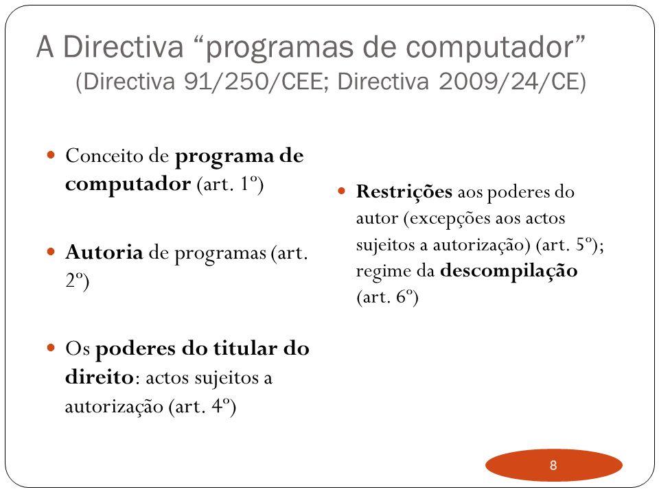 8 A Directiva programas de computador (Directiva 91/250/CEE; Directiva 2009/24/CE) Conceito de programa de computador (art.