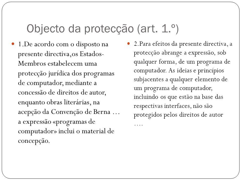 Objecto da protecção (art.