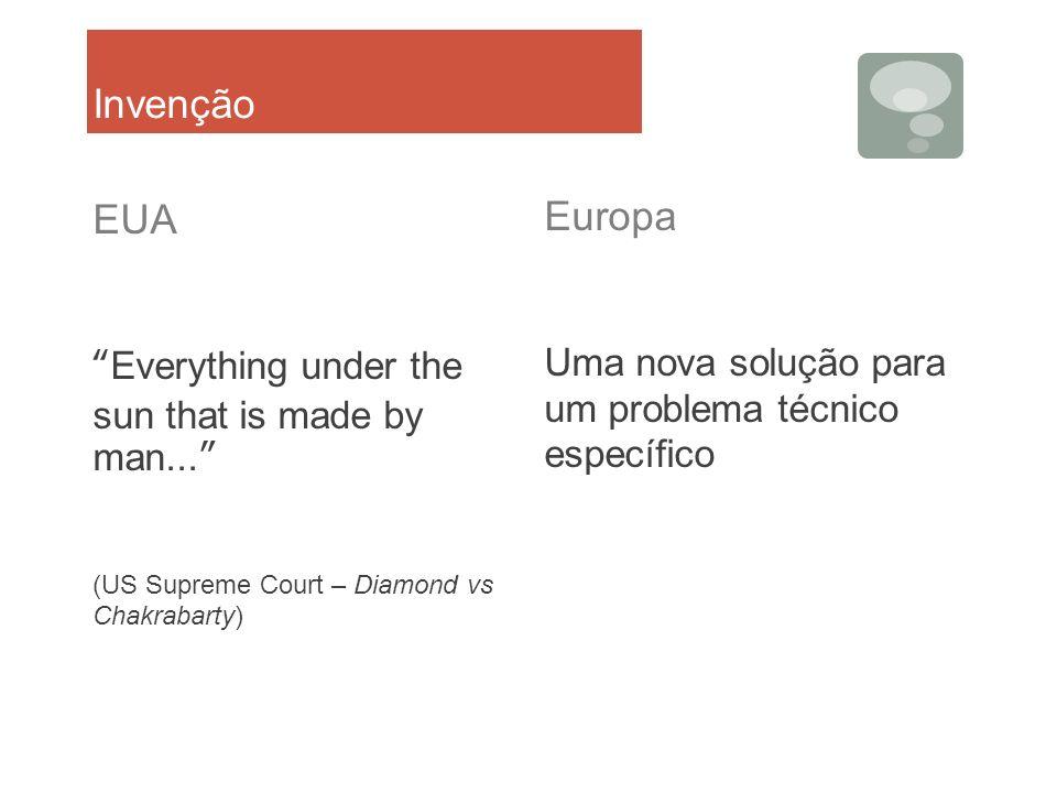 Invenção EUA Everything under the sun that is made by man... (US Supreme Court – Diamond vs Chakrabarty) Europa Uma nova solução para um problema técn