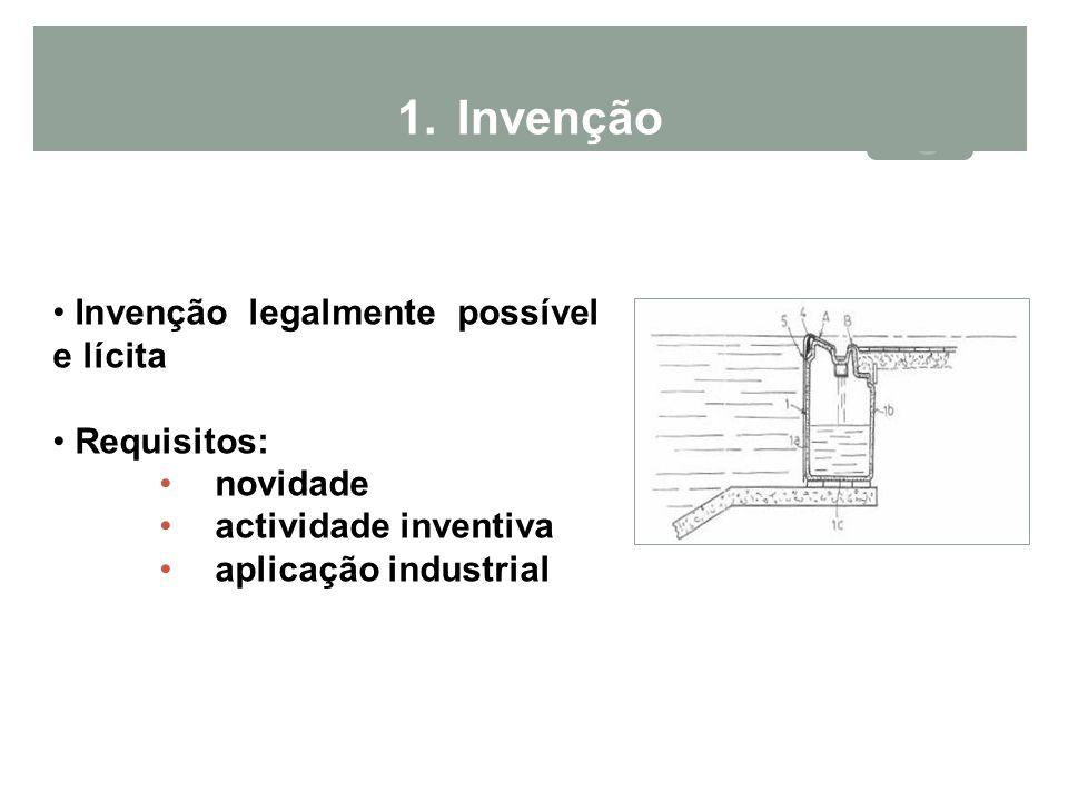 1.Invenção Invenção legalmente possível e lícita Requisitos: novidade actividade inventiva aplicação industrial