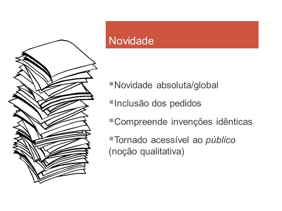 Novidade Novidade absoluta/global Inclusão dos pedidos Compreende invenções idênticas Tornado acessível ao público (noção qualitativa)