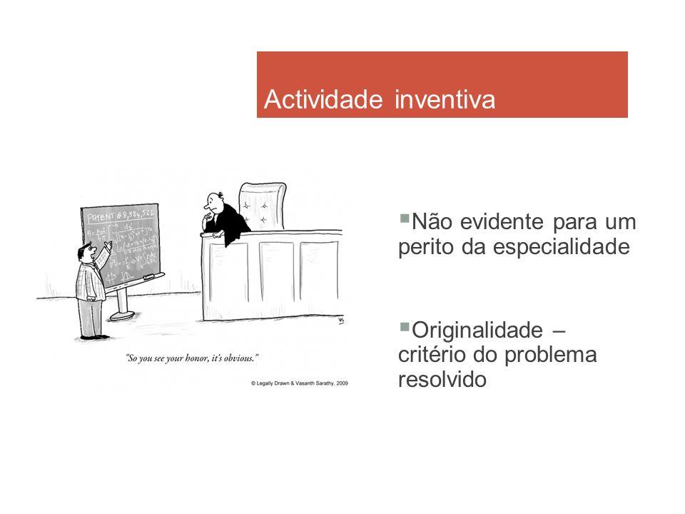 Actividade inventiva Não evidente para um perito da especialidade Originalidade – critério do problema resolvido