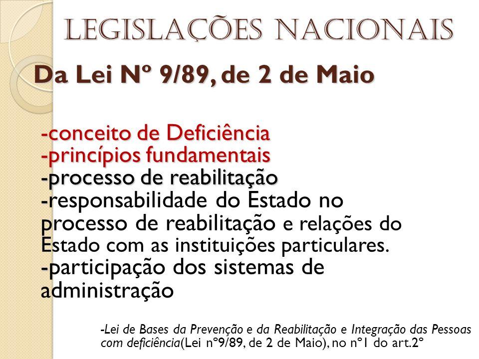 Da Lei Nº 9/89, de 2 de Maio Legislações nacionais -conceito de Deficiência -princípios fundamentais -processo de reabilitação - - responsabilidade do