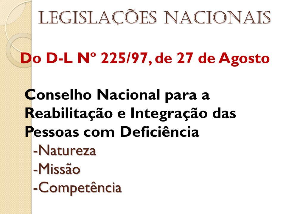 Do D-L Nº 225/97, de 27 de Agosto Legislações nacionais Conselho Nacional para a Reabilitação e Integração das Pessoas com Deficiência -Natureza -Natu