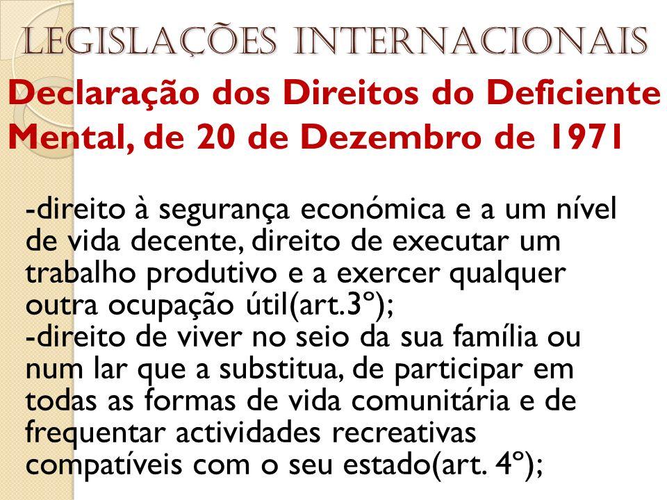 Declaração dos Direitos do Deficiente Mental, de 20 de Dezembro de 1971 Legislações internacionais -direito à segurança económica e a um nível de vida