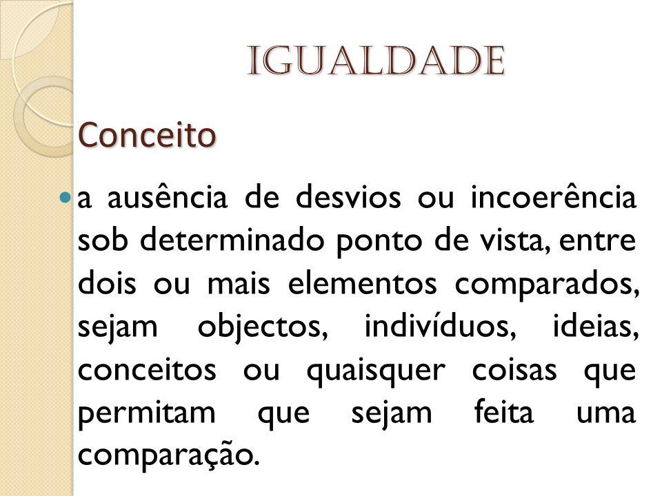 Igualdade a ausência de desvios ou incoerência sob determinado ponto de vista, entre dois ou mais elementos comparados, sejam objectos, indivíduos, id